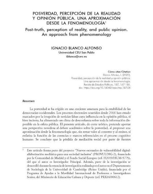 Blanco Alfonso, I.(2020). Posverdad, percepción de la realidad y opinión pública. Una aproximación desde la fenomenología. Estudios Políticos, 187, 167-186.https://doi.org/10.18042/cepc/rep.187.06