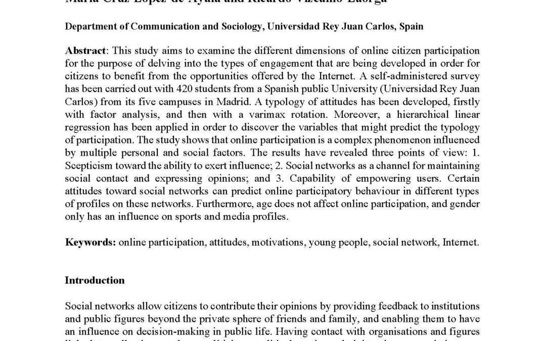 López-de-Ayala M.C. & Vizcaíno-Laorga R. (2021). Participation of young people in online social communities: an exploration of attitudes among university students in a case study in Spain. Kome. DOI: 10.17646/KOME.75672.63
